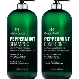BOTANIC HEARTH Peppermint Oil Shampoo and Conditioner Set - Hair Blooming Formula with Keratin for Thinning Hair - Fights Hair Loss, Promotes Hair