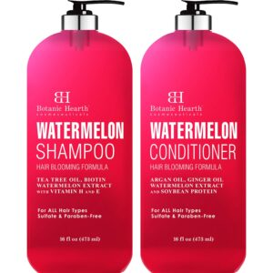 BOTANIC HEARTH Watermelon Shampoo and Conditioner Set - Promotes Hair Growth, Fights Hair Loss, Moisturizes, Sulfate & Paraben Free - for ALL Hair Types